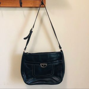 Etienne Aigner Black Genuine Leather Shoulder Bag